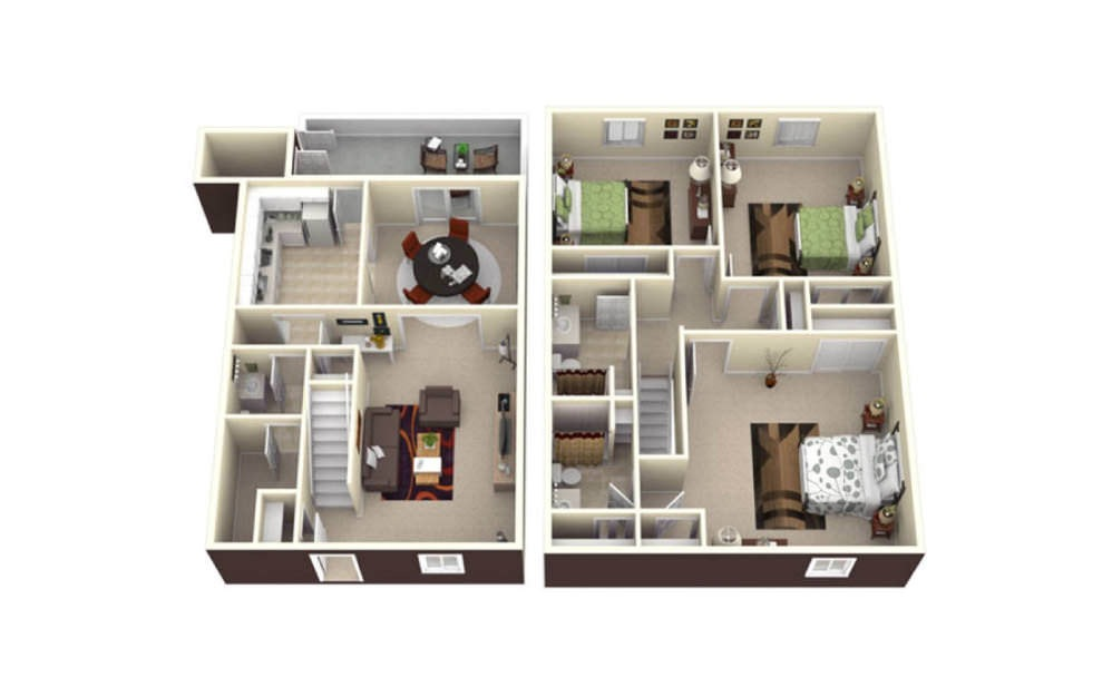 3 Bed Townhome - 3 bedroom floorplan layout with 2.5 baths and 1570 square feet.