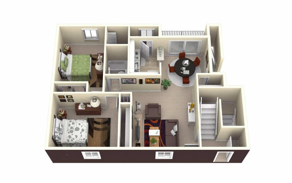 2 Bed Garden - 2 bedroom floorplan layout with 1.5 bath and 1090 square feet.