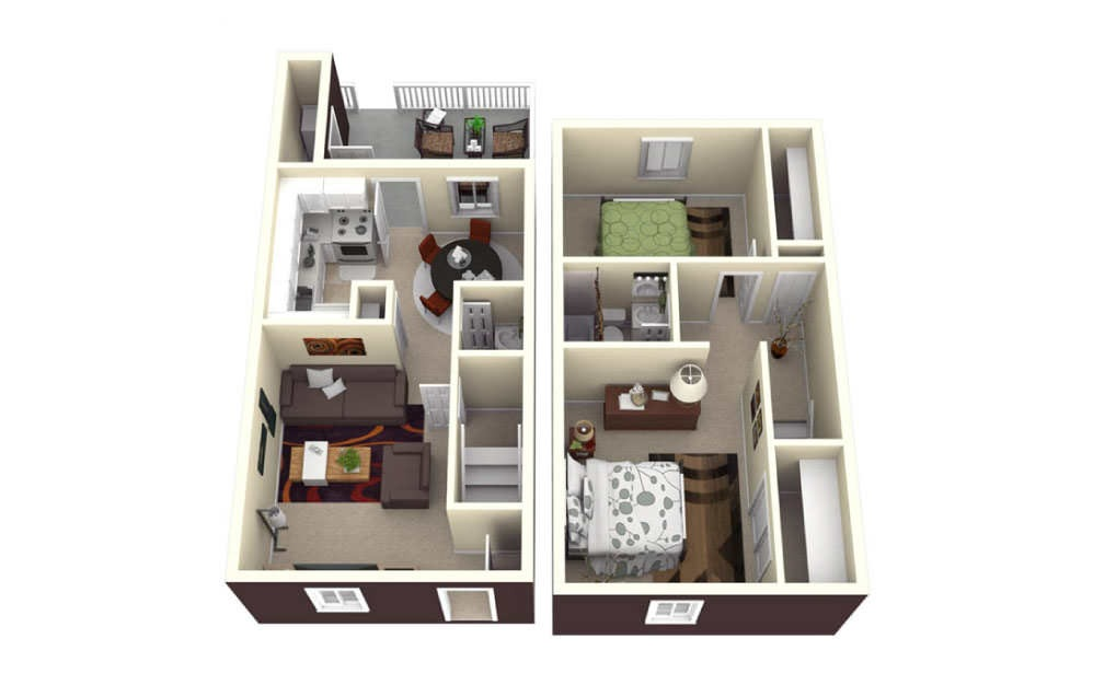 2 Bed Townhome - 2 bedroom floorplan layout with 1.5 bath and 1015 square feet.